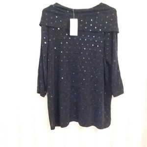 Catherines Navy Sparkling NWT Blouse